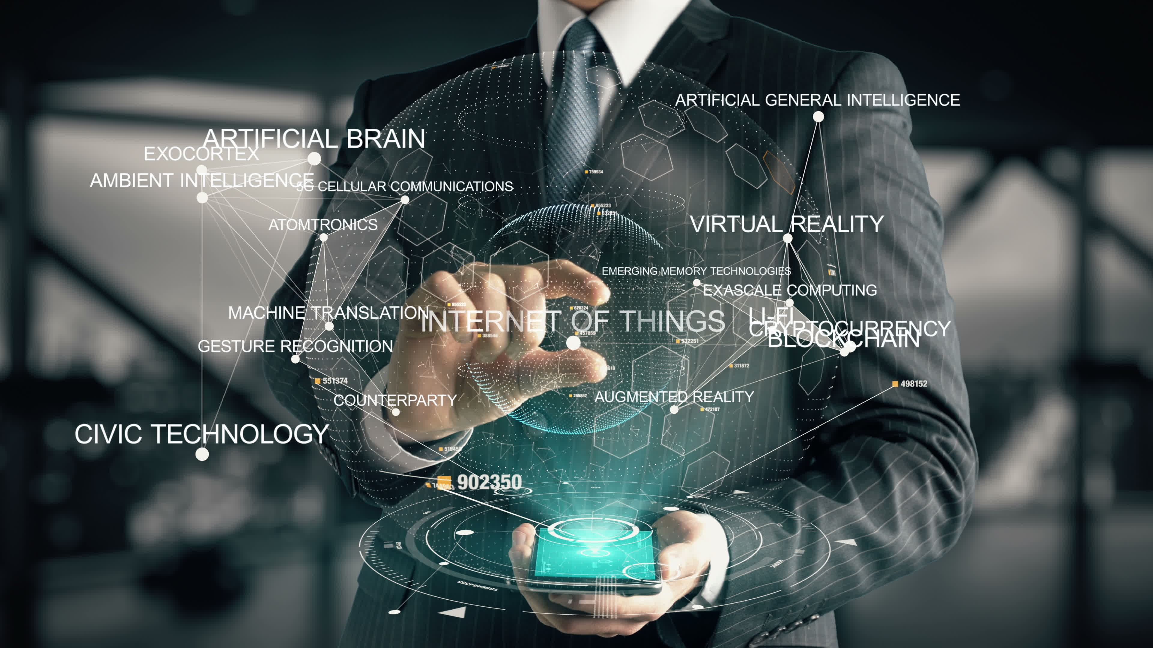 Businessman with hologram in the future with futuristic tablet with success words